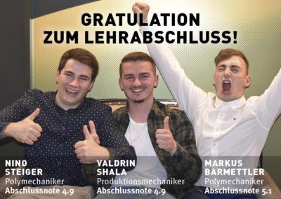 Gratulation zum Lehrabschluss